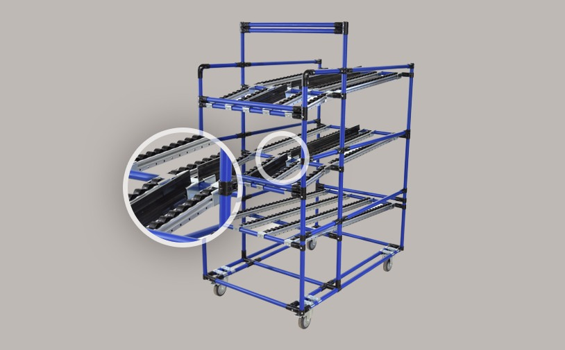 Central plastic box guide for standard conveyors