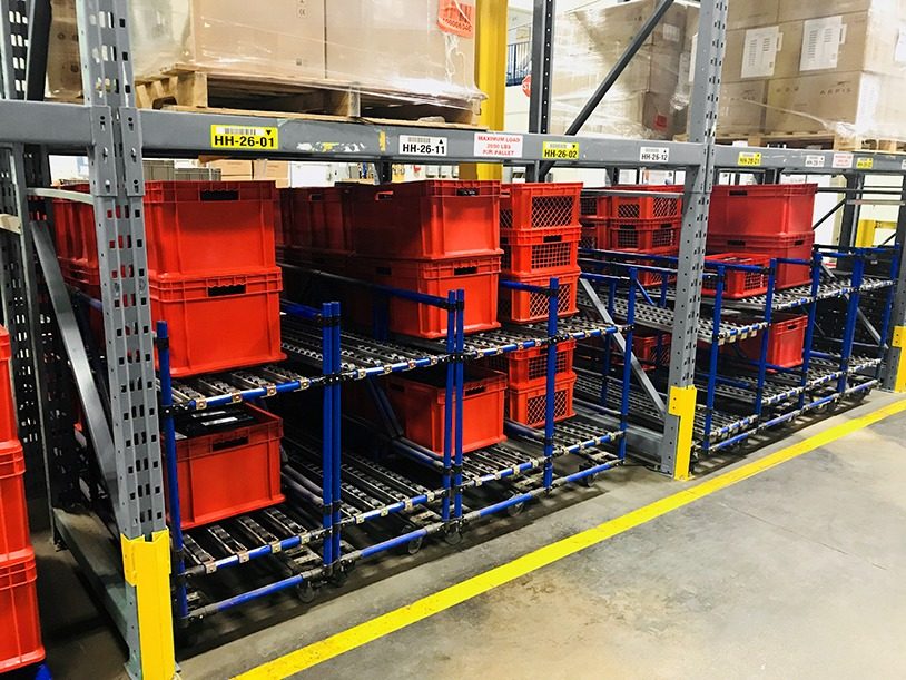 Flow racks to store bins under pallet racking