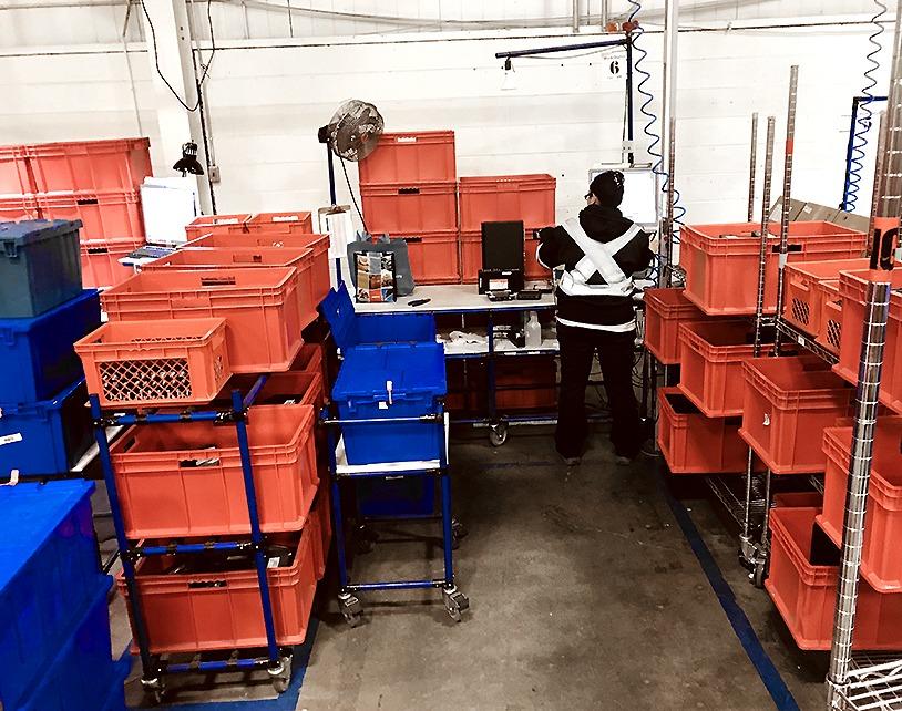 Modular carts with plastic bins