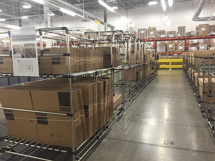 packing zone made of modular racks