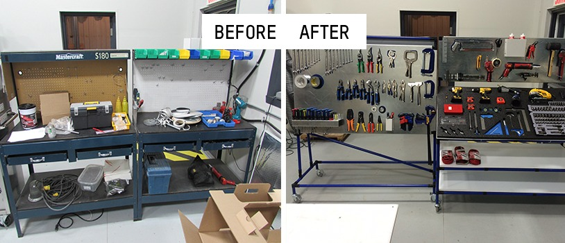 Workstation before and after