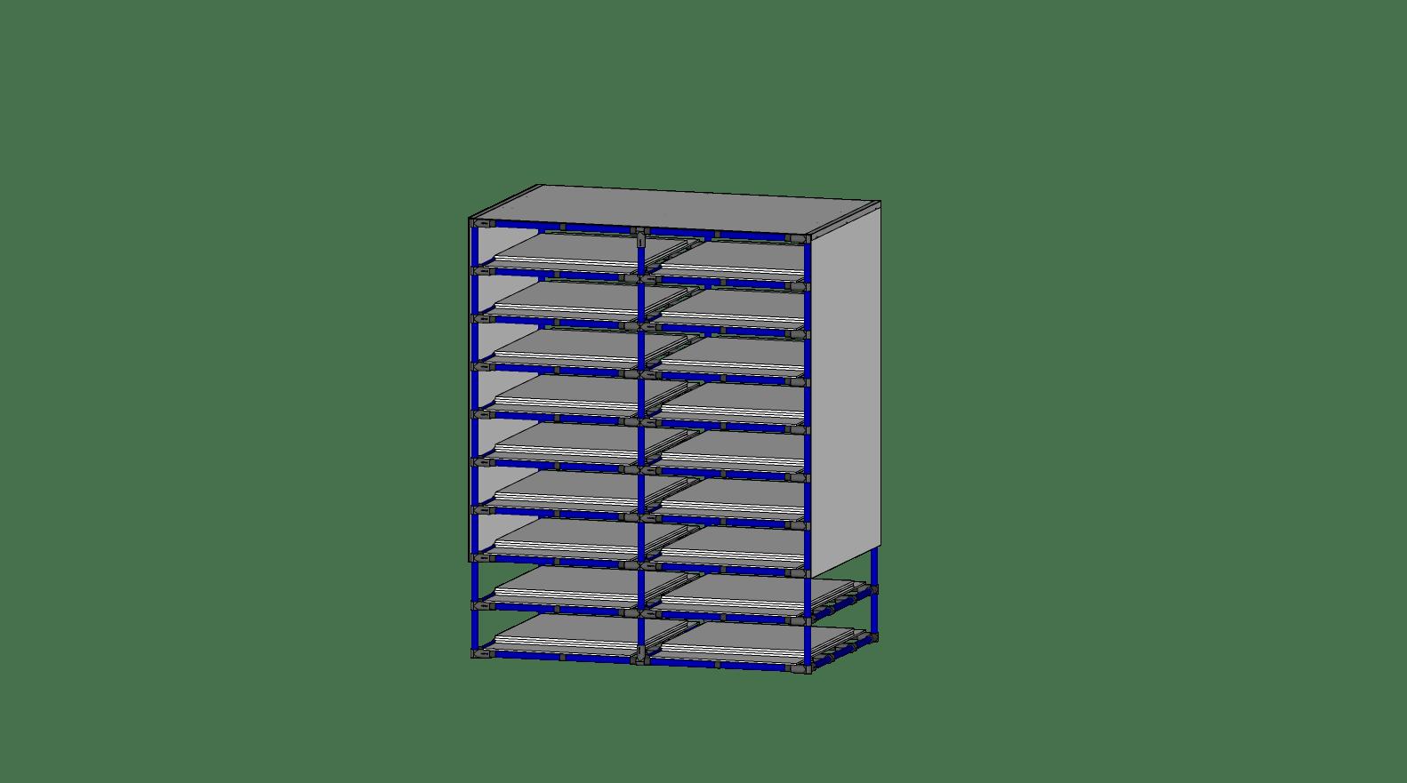 Étagère pour boîtes en cartons (18 emplacements)