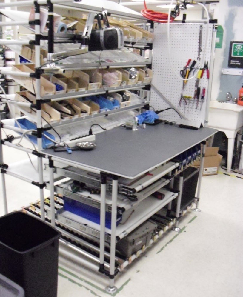 Assembly station with the bins system integrated directly into the workstation. Empty totes are located at the bottom.
