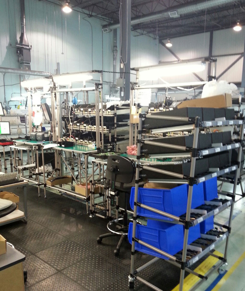 Lean assembly line with kitting carts
