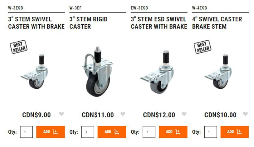 Some of the casters in our online store