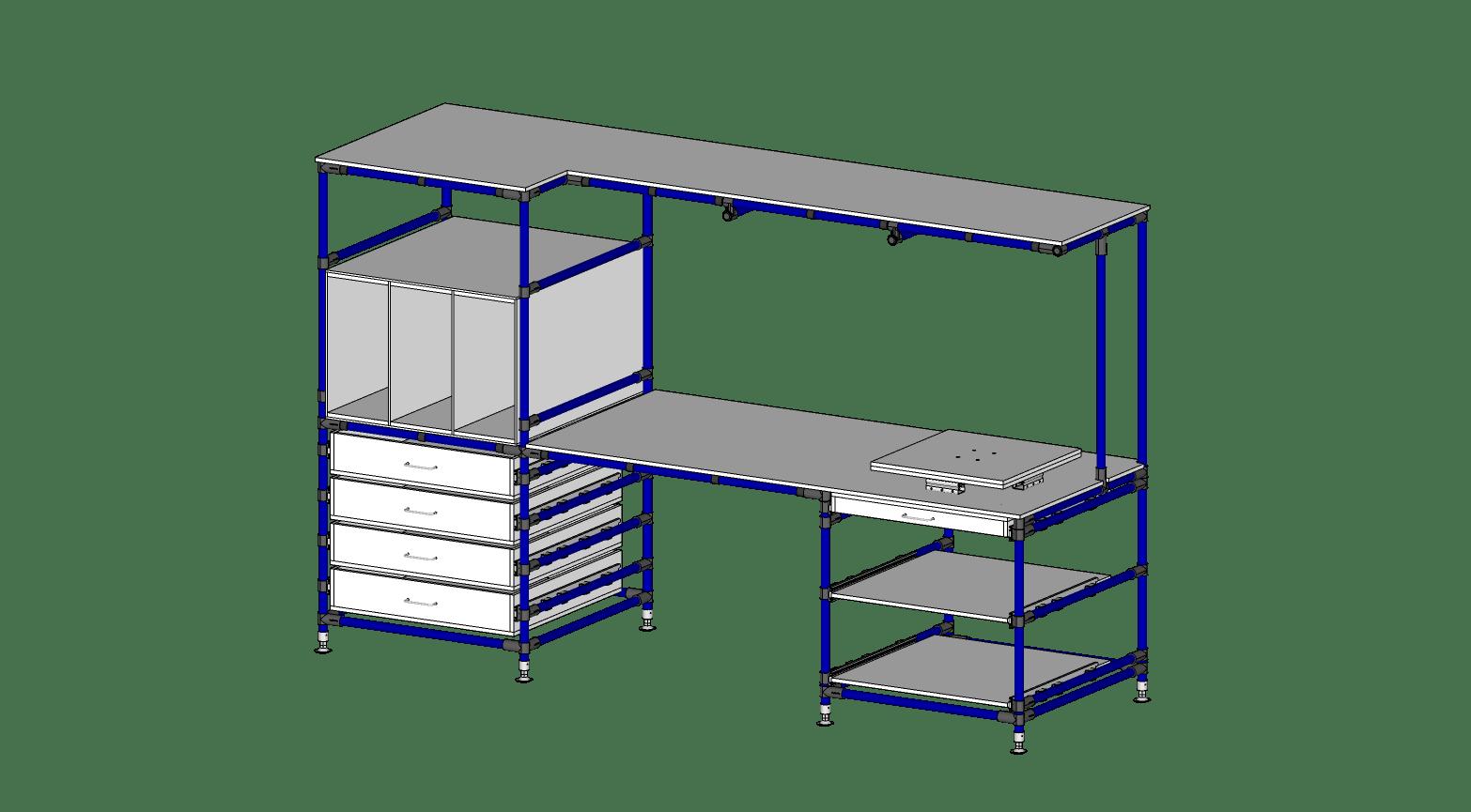 Poste de Travail avec Tiroirs & Table Tournant