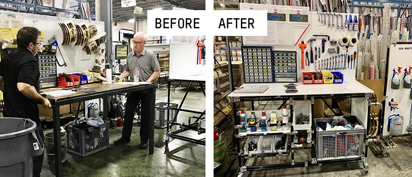 Before and after corrugated industry 5S workstation