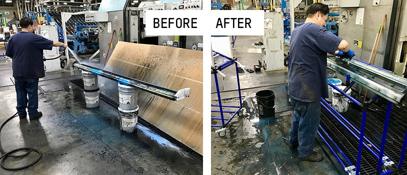 Before and after corrugated industry ink chamber