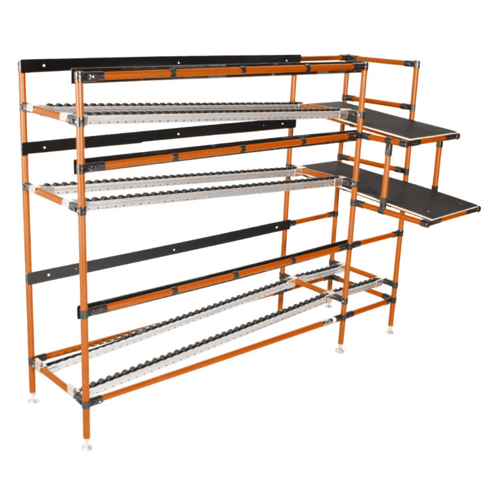 L-shaped flow racks for proximity of parts